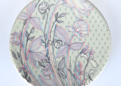 Jenn Demke-Lange. Peony Detail. 2015. Porcelain, glazes; Hand-built, glaze, illustrated anaglyph decals. $80.