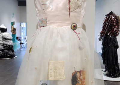 Common Thread (Astri Prugger, Westmount, QC), 2017: Silk peau de soie, silk tulle, silk dupionne, found objects, paper, ribbon, safety pins, embroidery floss, vintage buttons; hand sewing, machine sewing, appliqué, painting, crochet. NFS.