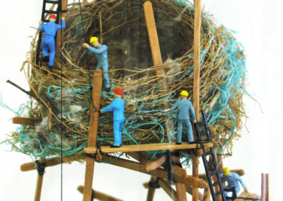 Shelter (Rebecca Asquith, Marion Square, Wellington, New Zealand), 2016: Found bird's nest, recycled cedar, cotton thread, plastic, scale model figures; model making. $300.