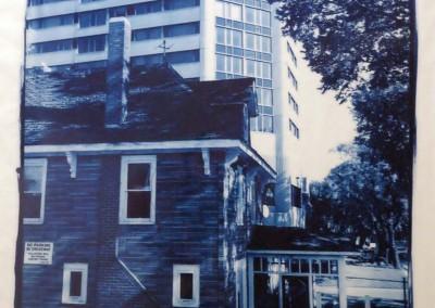 "Richard Retzlaff ""Gone"" 2005. Custom camera, silver gelatin negative and Cyanotype print on velum paper; Large format camera used to create negative; contact print made and printed on velum. Camera -- $1500; Framed print  -- $400"