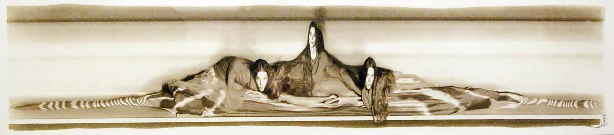"Richard Retzlaff ""Trinity"" 2008. Custom camera, digital negative and Van Dyke Brown print on rag paper; Scanning digital camera used to capture motion as a single image, negative printed and used as contact print. Camera -- $1000; Print -- $400"