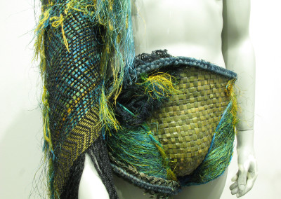 Elements Rejoice (Sandra Thompson): Flax (Harakeke, fish skin, jute string), all hand dyed. $800.