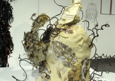 B Leaf (Shirley McMahon): Unfired clay, my handmade paper, twine, imbedded leaves, feather, bee. Not for sale.