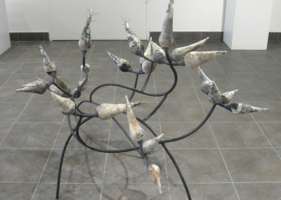 Smoky Prickle: Stoneware, terra sigilata, steel, wire, wax, cord; hand built, welded, pit fired, smoked, assembled. $1,500