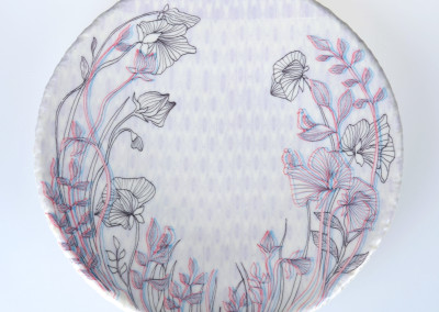 Jenn Demke-Lange. Sweet Pea. 2015. Porcelain, glazes; Hand-built, glaze, illustrated anaglyph decals. Sold.