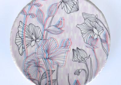 Jenn Demke-Lange. Sweet Pea Detail. 2015. Porcelain, glazes; Hand-built, glaze, illustrated anaglyph decals. Sold.