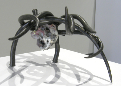 Tendre: Steel, porcelain, wire, cord, glass; forged, hand built, pit fired, assembled. $950