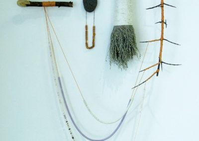Bibelots (Terri Fidelak, Regina, SK, Canada), 2016: Found objects, wool, thread, sequins. Not for sale.
