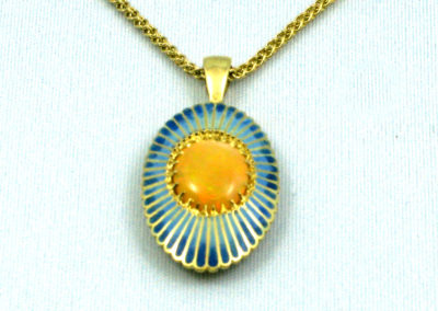 Thai Opal (Joan Thomson), 2015: 18k green gold, Opal, 14k yellow gold commercial chain, enamel; champlevé. NFS.