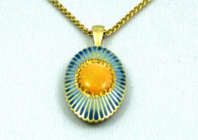 Thai Opal (Joan Thomson), 2015: 18k green gold, Opal, 14k yellow gold commercial chain, enamel; champlevé. NFS.