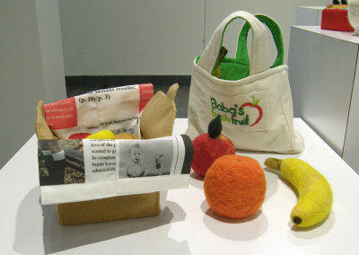 Baba's Fresh Fruit (Wendy MacDonald), 2014: Wool; hand carding, needle felting, hand stiching, machine sewing. $170