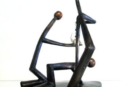You and Ya Mates (William Dorman, Goulburn, NSW, Australia), 2016: Steel, copper, silver, lapis; formed, welded, various jewellery techniques. $1,600.