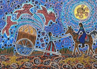"Leah Marie Dorion ""Women of the Prairie"" 2011; Acrylic, Mica on canvas; NFS"