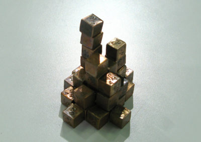 Building Blocks of Creative Connections (Yvonne Musey Johnson, Saskatoon, SK, Canada), 2016: Copper, patina; forged, embossed. $400.