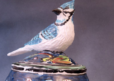 21. Bluejay Jar (Debra Kuzyk and Ray Mackie), 2016: Cone 6 porcelain; on-glaze decoration. $950.