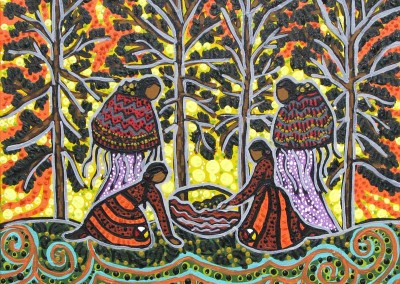 "Leah Marie Dorion ""Collecting Moss Women"" 2010; Acrylic on canvas; NFS"