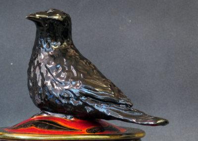 22. Crow Jar (Debra Kuzyk and Ray Mackie), 2016: Cone 6 porcelain; underglaze decoration. $850.
