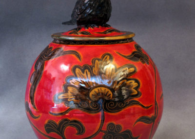 23. Crow Jar (Debra Kuzyk and Ray Mackie), 2016: Cone 6 porcelain; underglaze decoration. $850