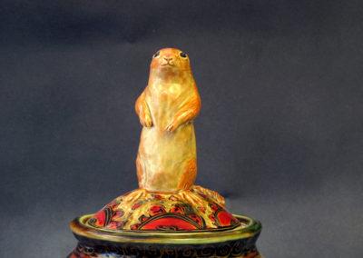 18. Gopher Jar (Debra Kuzyk and Ray Mackie), 2016: Cone 6 porcelain; carved decoration. $850.