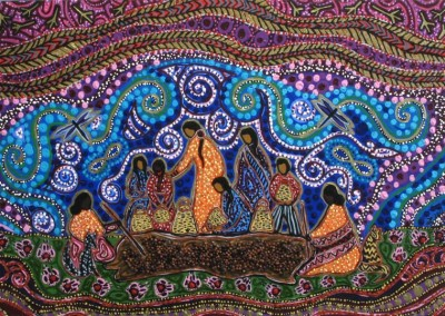"Leah Marie Dorion ""Grandmothers Guard Pemmican Berries"" 2012; Acrylic, Mica, Chokecherry seeds on canvas; NFS"