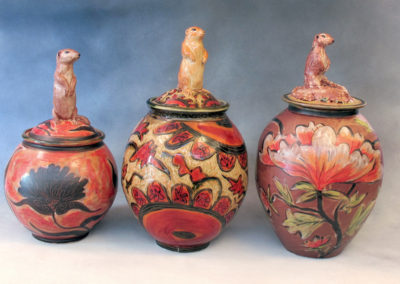 26. 18. 27. Gopher Jars (Debra Kuzyk and Ray Mackie), 2016: Cone 6 porcelain; on-glaze decoration. $600 (left), $850 (centre), $750 (right).