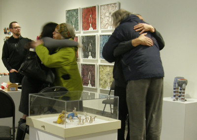 Reception: New Year greetings and friendly hugs.