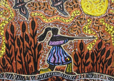 "Leah Marie Dorion ""Hunting Niskak Woman"" 2011; Acrylic, Mica on canvas; NFS"