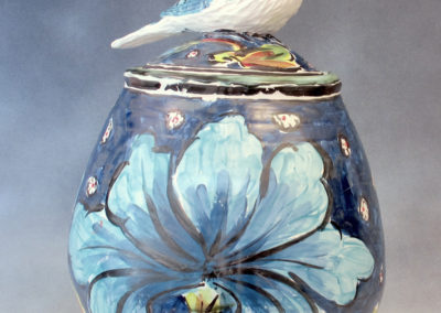 21. Bluejay Jar (Debra Kuzyk and Ray Mackie), 2016: Cone 6 porcelain; on-glaze decoration. $950.
