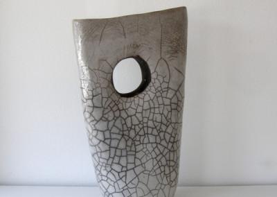 Raku Vase (Matina Morton), 2014: White stoneware; hand coiled, raku fired. $125.
