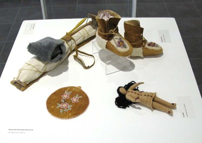 """Moose Hair Embroidery Hide Circle"" ""Toy Doll"" ""Youth Moccasins"" ""Toy Dog Toboggan""; Leah Dorion Collection"