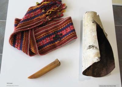 """Metis Sash"" Worn by Louis Dorion, Leah Dorion Collection; ""Pelt Scraper"" Leah Dorion Collection; ""Unfinished Birch Bark Moose Collar"" Leah Dorion Collection"