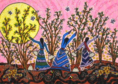 "Leah Marie Dorion ""Picking Saskatoons"" 2009; Acrylic, Mica, Beads on canvas; NFS"