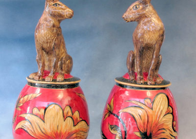 32. 33. Jackrabbit Jars (Debra Kuzyk and Ray Mackie), 2016: Cone 6 porcelain; carved decoration. Not for sale (left), $1,200 (right).