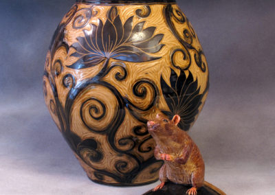 17. Rat Jar (Debra Kuzyk and Ray Mackie), 2016: Cone 6 porcelain; carved decoration. Not for sale.