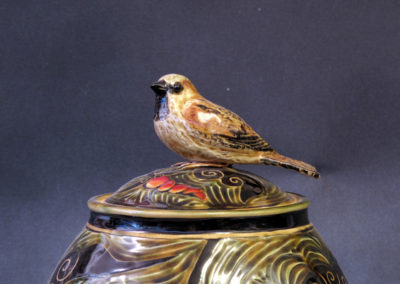 14. English Sparrow Jar (Debra Kuzyk and Ray Mackie), 2016: Cone 6 porcelain; carved decoration. $750