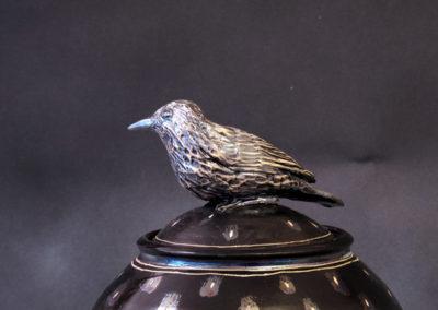 15. Starling Jar (Debra Kuzyk and Ray Mackie), 2016: Cone 6 porcelain; luster. $600