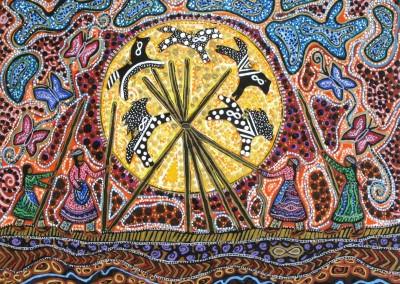 "Leah Marie Dorion ""Tepee Raising Women"" 2013; Acrylic and mixed media on canvas; NFS"