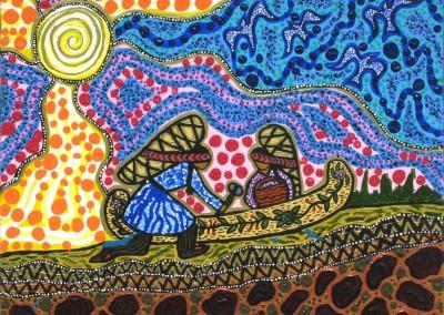 """Leah Marie Dorion """"Unloading the Canoe"""" 2011; Acrylic on canvas; NFS"""