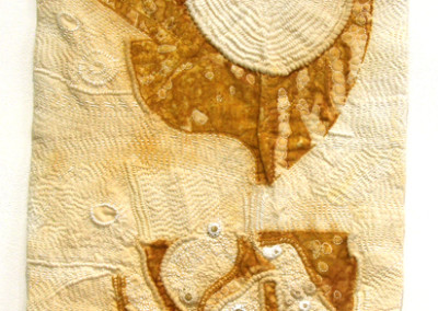 Winter Prairie (Arlee Barr), 2012: Rusted cotton, embroidery threads; hand embroidery, rusted cotton, fabric manipulation, hand quilting. $400