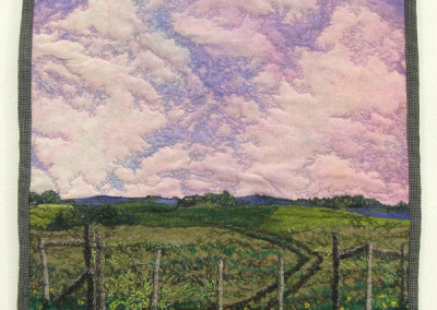 Summer Pasture (Cindy Hoppe), 2012: Silk, wool, cotton embroidery thread; machine quilting, embroidery, hand dyeing. $400