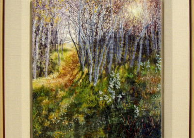 Early Morning, Late Summer (Jane A. Evans), 2005: Cotton, polyester, rayon, acylic, nylon threads, fibre paint; warp painting, weaving, hand and free-motion embroidery. $1,400