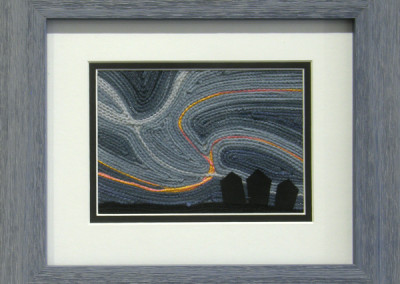 Prairie Skies #5 (Jaynie Himsl), 2014: Embroidery cotton, yarn, fabric, invisible thread; custom made cording couched to a base, fused appliqué. $125