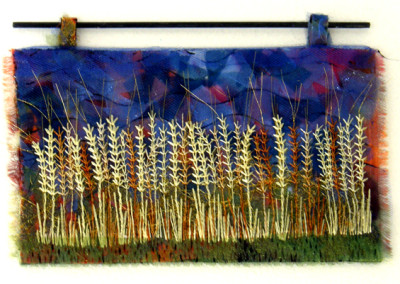 Wheatear Wheat (Jeanette Luther), 2014: Organza, silk thread, felt; fusing and embroidery. NFS