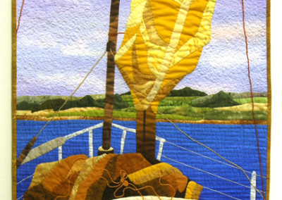 Waiting for the Wind (Judith Panson), 2010: Commerical cotton fabric, paint, crochet cotton; hand pieced, hand couched, painted, hand and machine quilted. $750