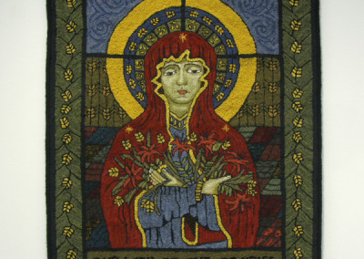 Our Lady of the Prairies (Louise Tessier), 2011: Hand dyed wool, burlap, wool skeins, embroidery thread, cotton binding and cording, thread; continuous loop rug hooking. NFS