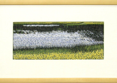 Northern Marsh (Margot Lindsay), 1998: Embroidery threads, silks & cotton; stitches (French Knots), embroidery, couching. NFS
