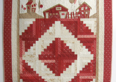 Down on the Farm (Marlene Biles), 2013: Cotton fabrics, DMC embroidery floss; traditional piecing, applique, embroidery. NFS