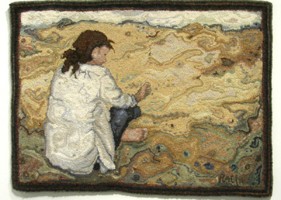 As Day Breaks (Rachelle LeBlanc), 2013: 100% wool, cashmere, and linen; traditional hug hooking technique. $3,880