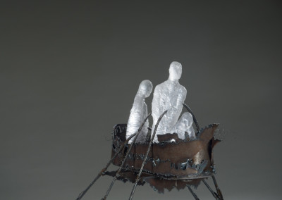 "Gale Steck Memorial Award for Excellence in Craft by an Emerging Artist: Louisa Ferguson (Saskatoon) ""Ship of Fools"", 2015' Mild steel, glass; welding and glass casting; 35 x 36 x 40; Value: $1200.00 ; Not For Sale"