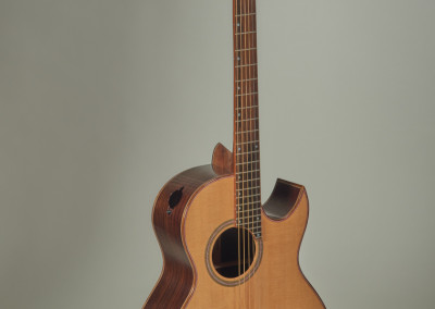 "David Freeman (Tugaske) ""GM03 Guitar - Acoustic Soundwedge"", 2014; Rosewood, zircote, Englemann Spruce, Flame Maple, Bone, mother of pearl; heat bending, planing, filing, sanding, lacquered; 104 x 39 x 13; Value: $6,500.00; For Sale"